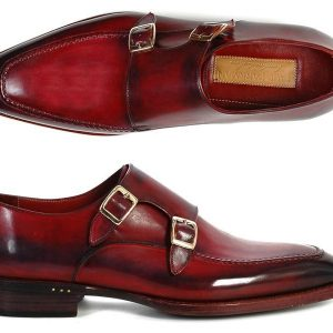 Black and bordeaux hand painted monkstrap shoes
